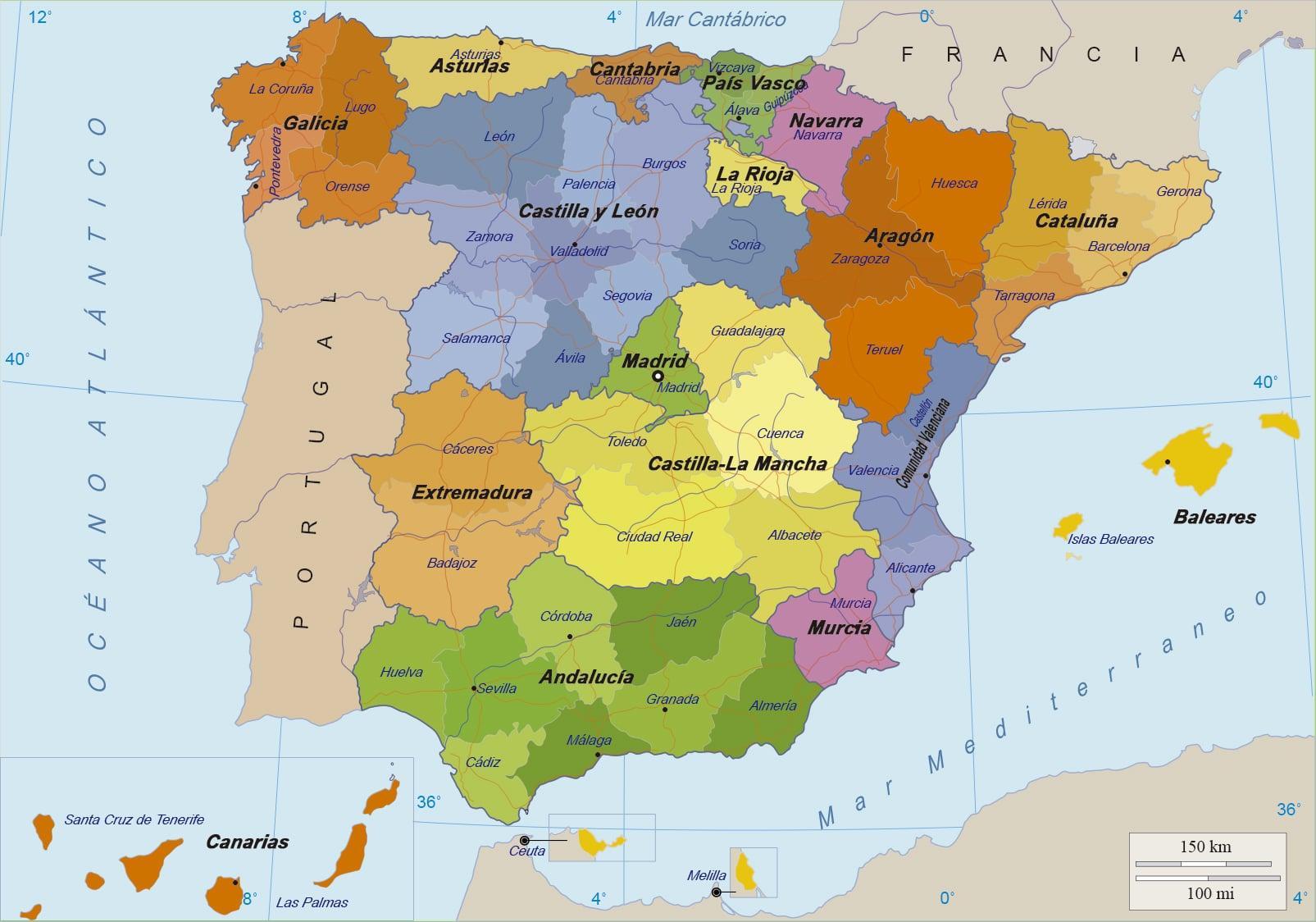 Karta Pa Spansk.Karta Over Spanien Och Oarna Karta Over Spanien Och Dess Oar