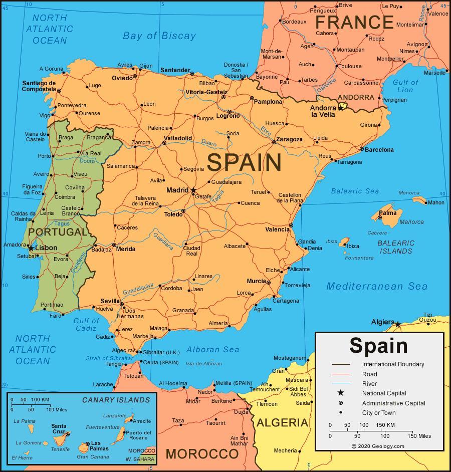 Karta Lander I Europa.Karta Over Spanien Och Omgivande Lander Karta Over Spanien Och