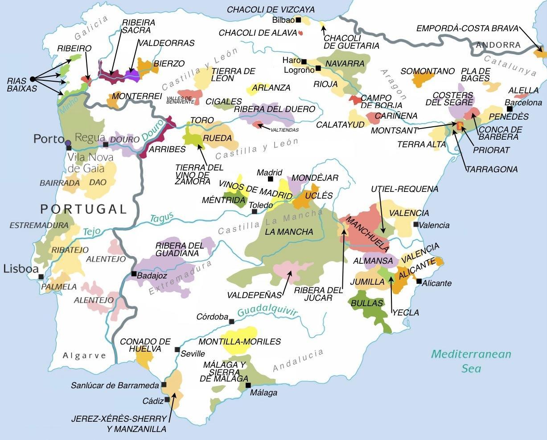 Karta Pa Spansk.Karta Over Vindistrikt I Spanien Karta Over Spanien Vin Regionerna
