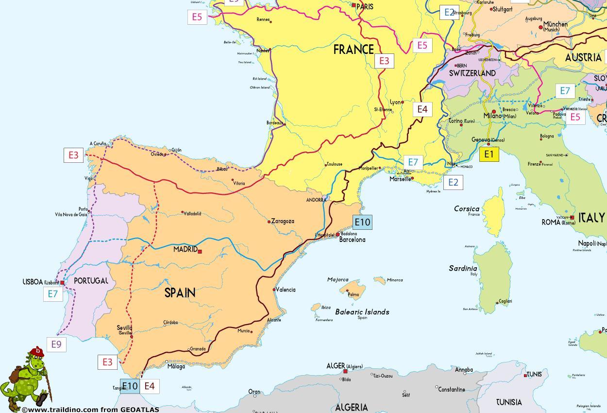 Karta Och Avstand.Spanien Karta Lage Karta Over Spanien Med Avstand Sodra Europa