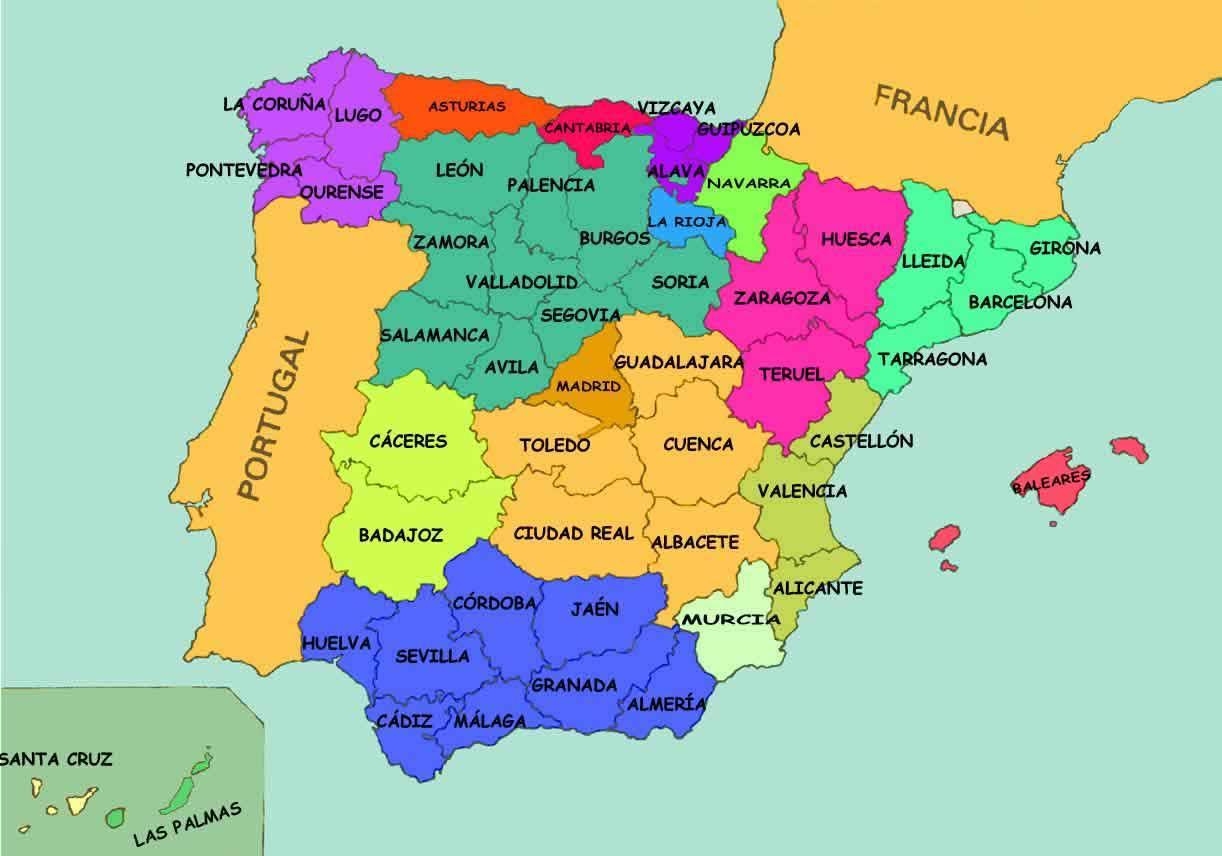Spanien Stater Karta Karta Over Spanien Staterna Sodra Europa