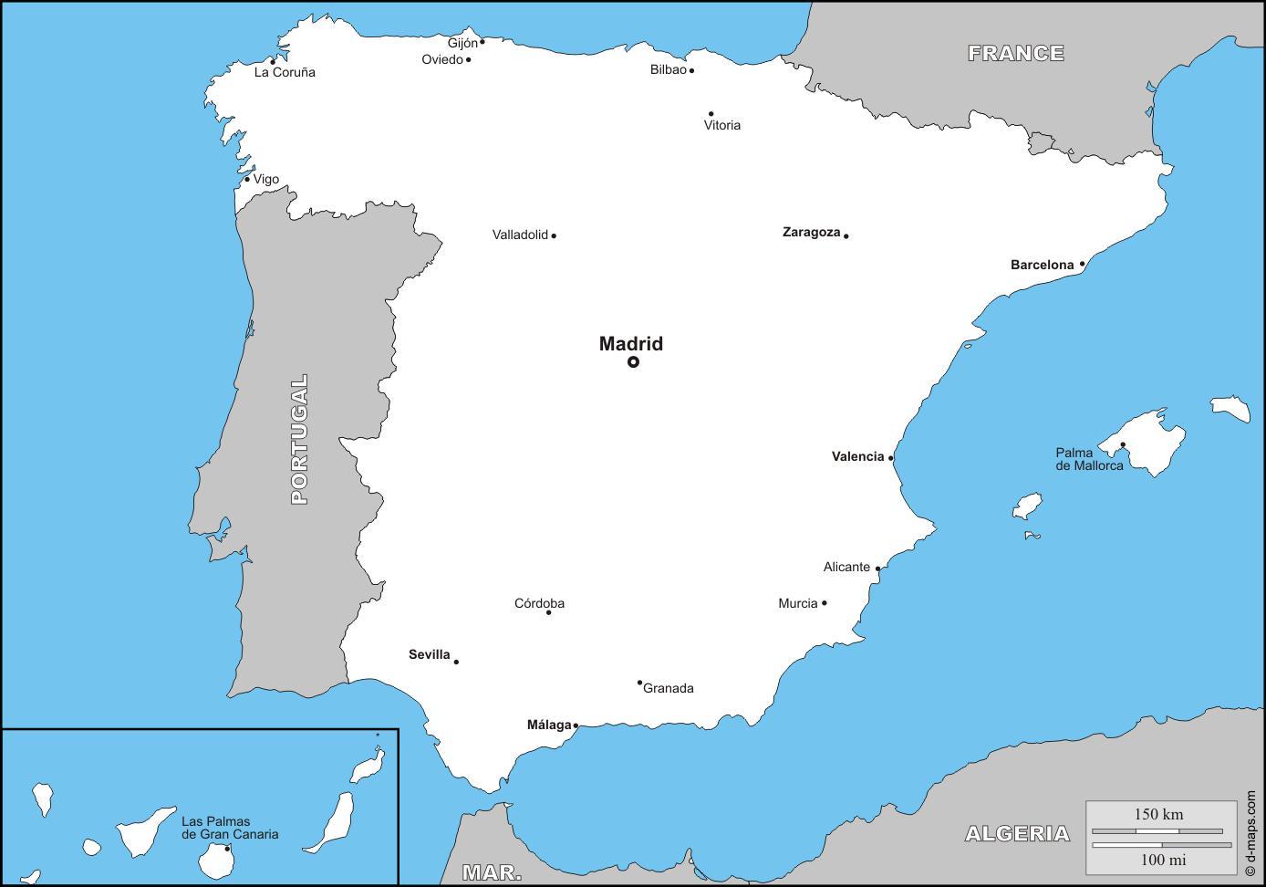 Karta Spanien Granada.Spaniens Storsta Stader Karta Karta Av Spaniens Storsta Stader