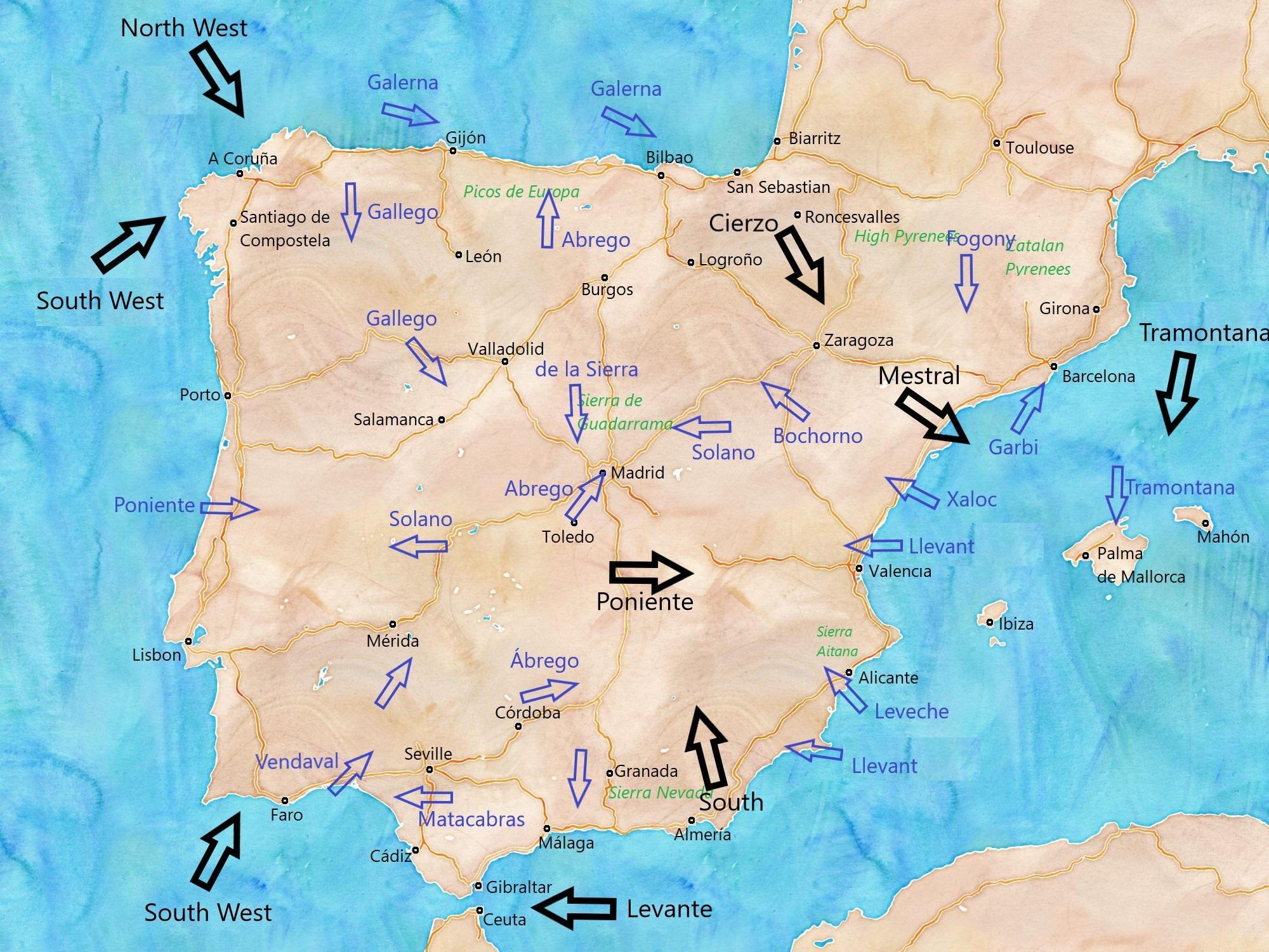 Karta Spanien Granada.Vinden Karta Spanien Karta Over Spanien Vind Sodra Europa Europa