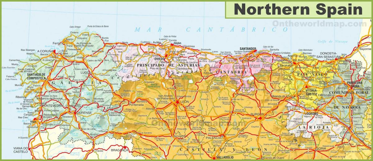 Karta Nordostra Spanien.Karta Norra Europa