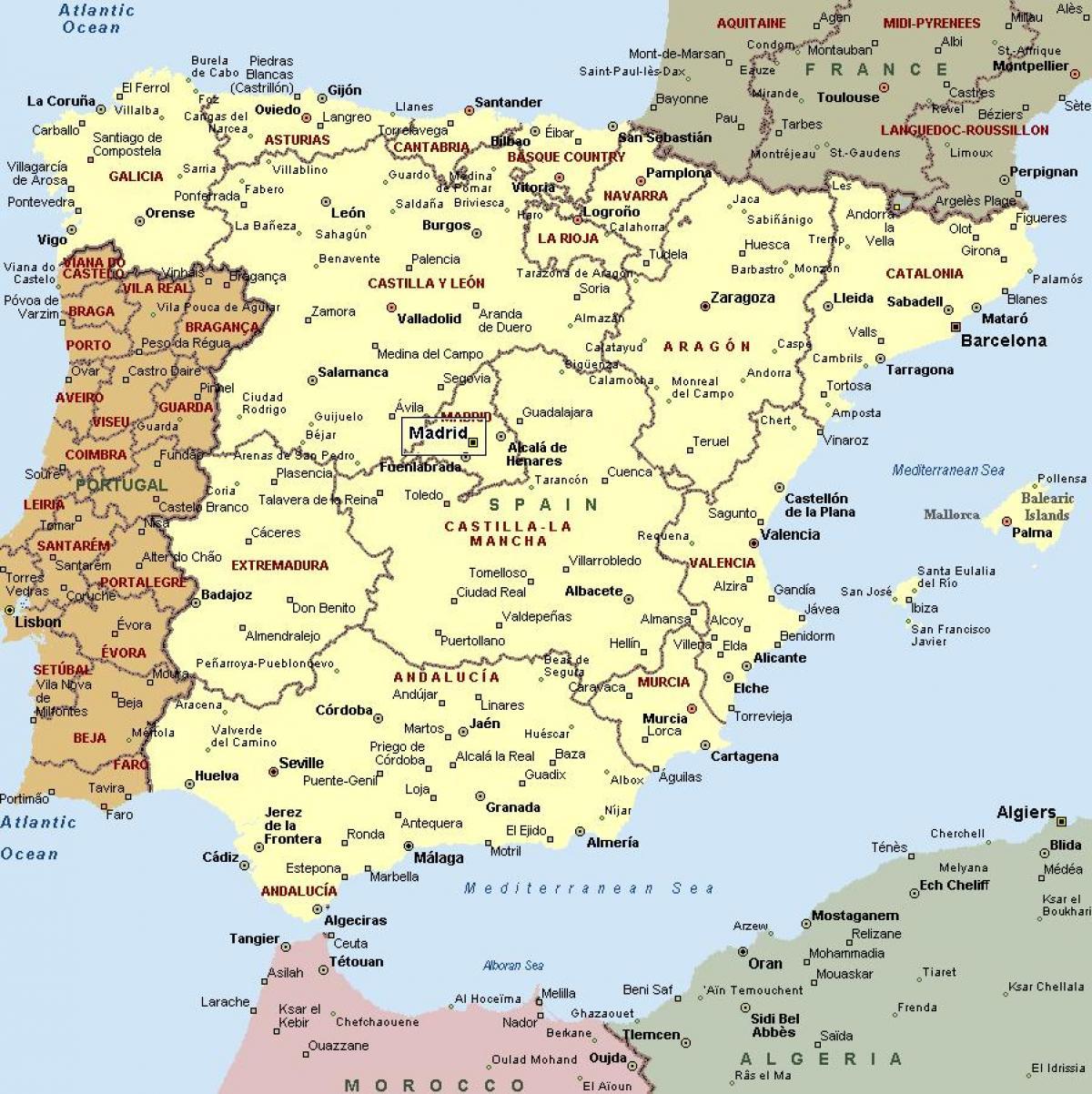 Karta Pa Spansk.Karta Over Spanien Med Stader Karta Over Spanien Och Stader Sodra