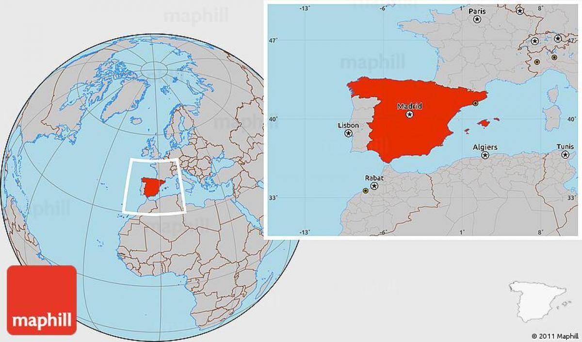 Karta Varlden Europa.Spanien Plats Pa Varldskartan Spanien I Varlden Karta Lage Sodra