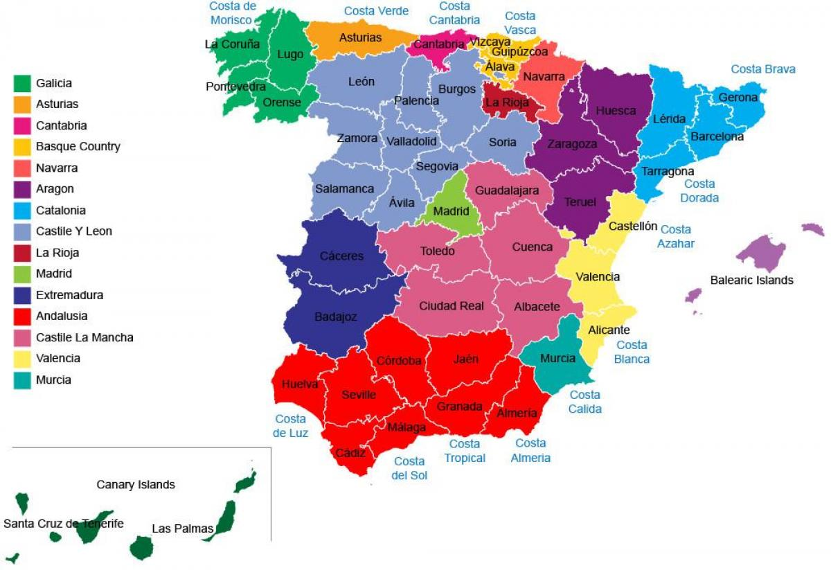 spanien karta regioner Spanien provinser karta   Spanien karta regioner, provinser (Södra  spanien karta regioner