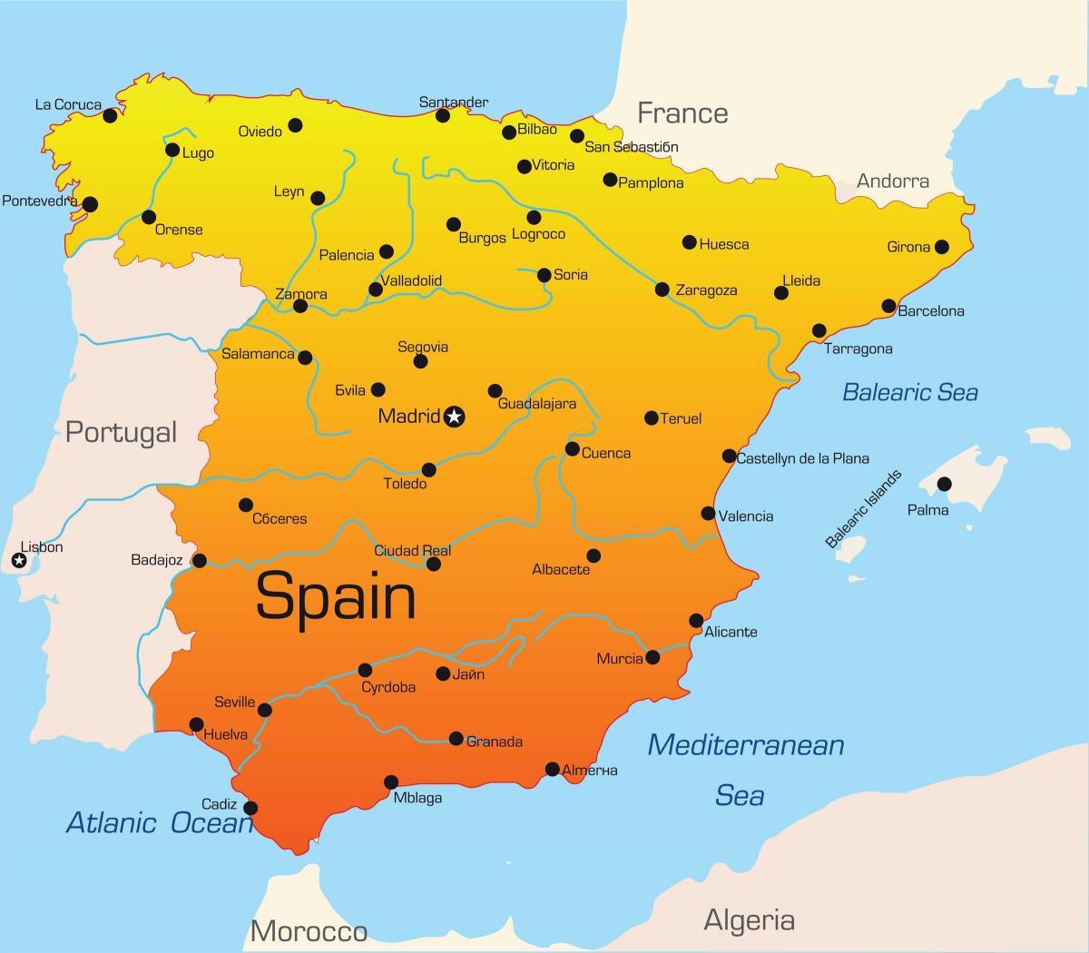 Karta Spanien Granada.Spanien Semester Destinationer Karta Resmalen I Spanien Karta